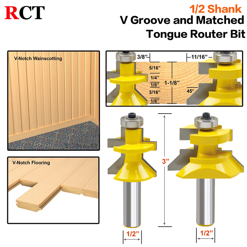 2pc 1/2 Shank V Groove & Matched Tongue Router Bit Set w/ premium ball bearings Woodworking cutter RCT 15217 2pcs lot matched tongue and groove router bit set edge banding 1 2 shank