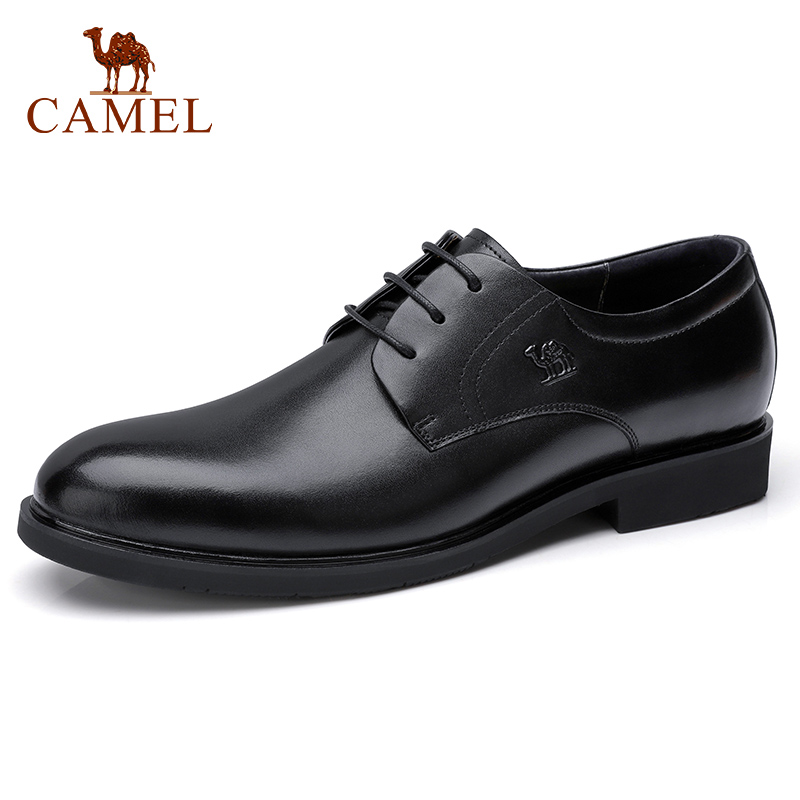 CAMEL Business Wedding Dress Shoes England Genuine Leather light Glossy Soft Leather Shoes Men Elegant Derby