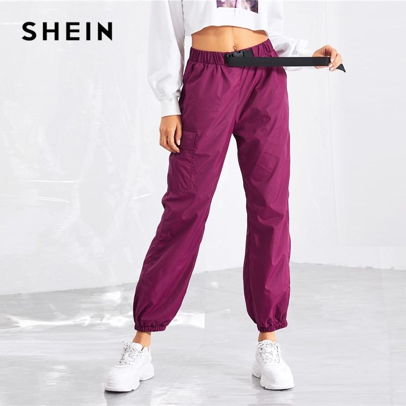 a97fced9f9 SHEIN Purple Pocket Side Drawstring Waist Pants Casual Elastic Waist Belted  Trousers Women Autumn Plain Streetwear