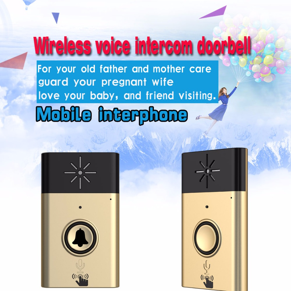 (1 Kit) Gold Color H6 Wireless Voice Intercom Doorbell 1 to 1 Visitor Calling system for House Audio Door phone in Door Bell 2 receivers 60 buzzers wireless restaurant buzzer caller table call calling button waiter pager system