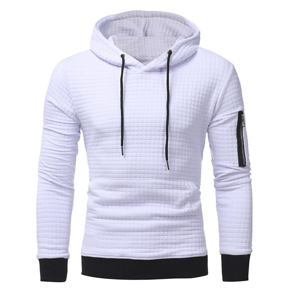 Men Jacquard Weave Long Sleeve Tiecord Hoodies Hooded Pullovers Sweatshirt