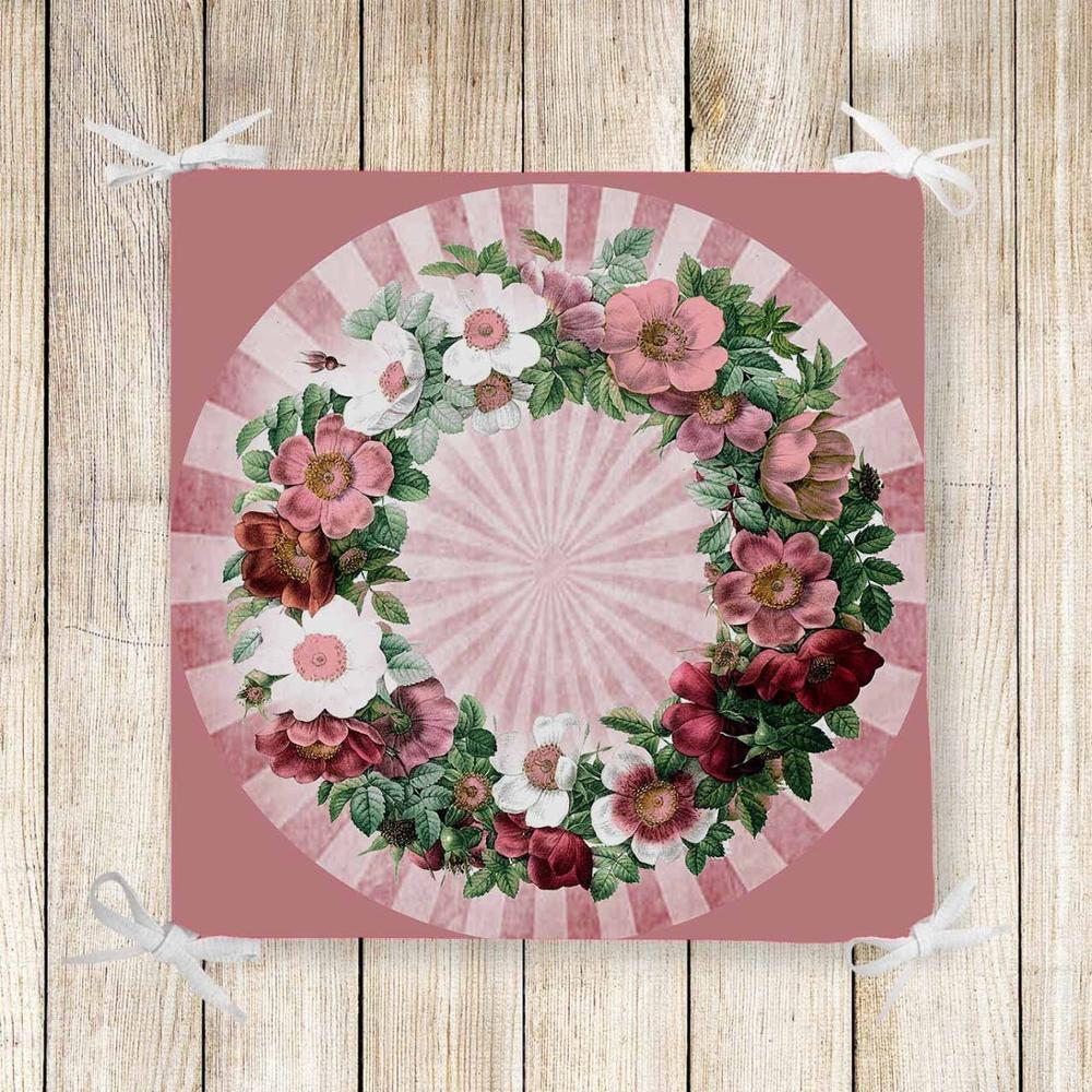 Else Pink White Red Roses Frames Flowers 3d Chair Pad Seat Cushion Soft Memory Foam Full Lenght Ties Non Slip Washable Zipper