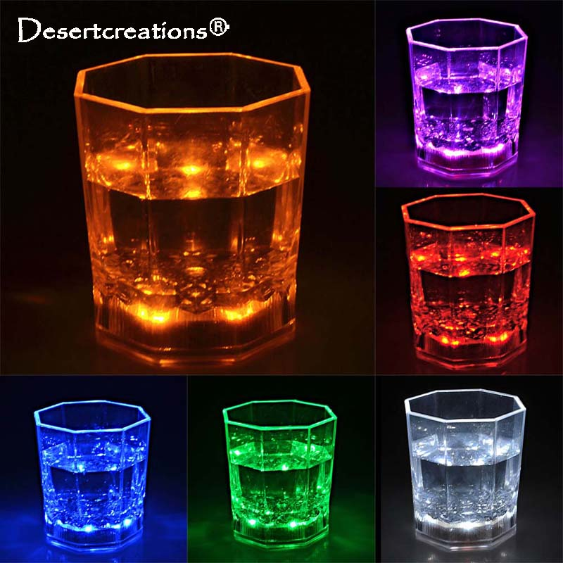 LED Lamp Plastic Transparent Cups Bar Club Wine Glass Flashing Octagonal Scotch Luminous Mugs Light Glow Beer Glasses For Party