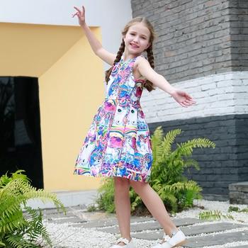 Girl Rainbow Unicorn Print Sleeveless Dress