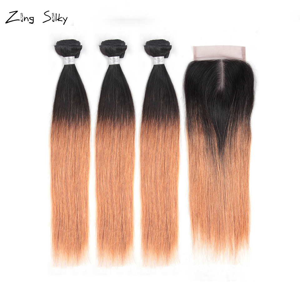 Brazilian Ombre 100% Human Hair Bundles With Closure Remy Straight Human Hair Bundles Hair Extension Zing Silky Hair Vendors