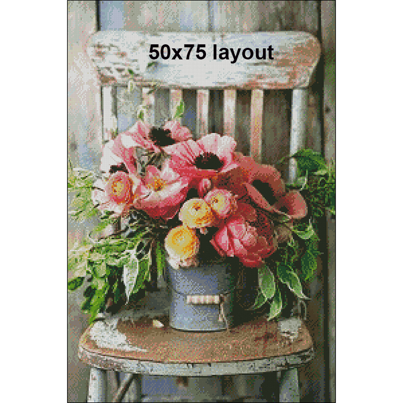 Room Decor Embroidery Pattern Diamond 5D DIY Paintings A Potted Flower On The Chair 3D Cross Stitch Kits Mosaic Stickers RS454