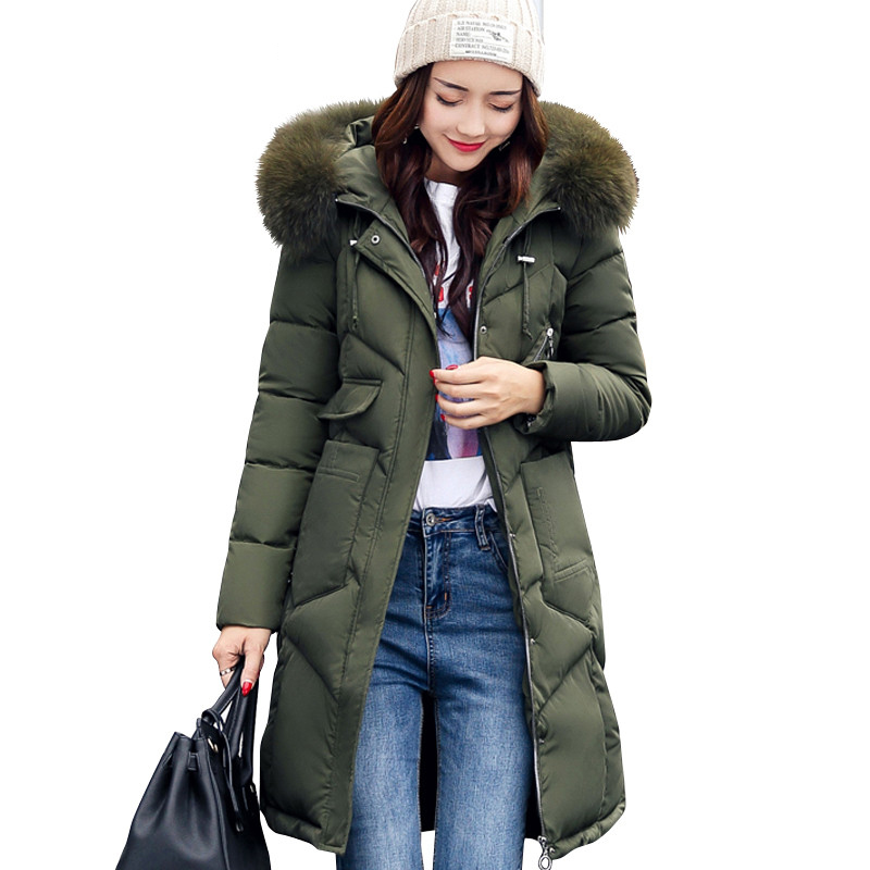 Winter Women Hooded Coat Fur Collar Thicken Warm Long Jacket women s coat girls long slim