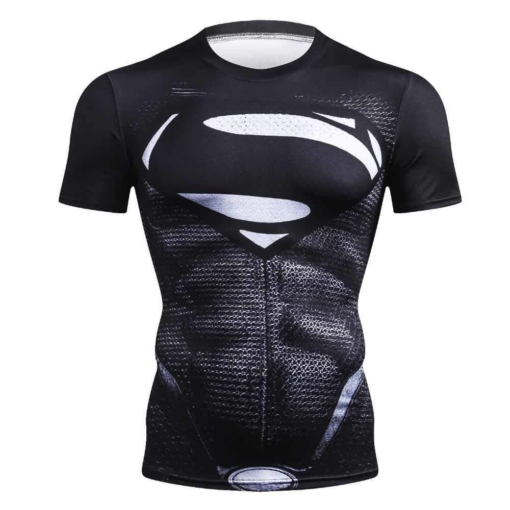 2018 Nieuwe Merk Fitness Compressie T-Shirt Mannen Superman Korte Mouw 3D Oefening Tops Mannen T-shirt Zomer Mode Casual T-shirt