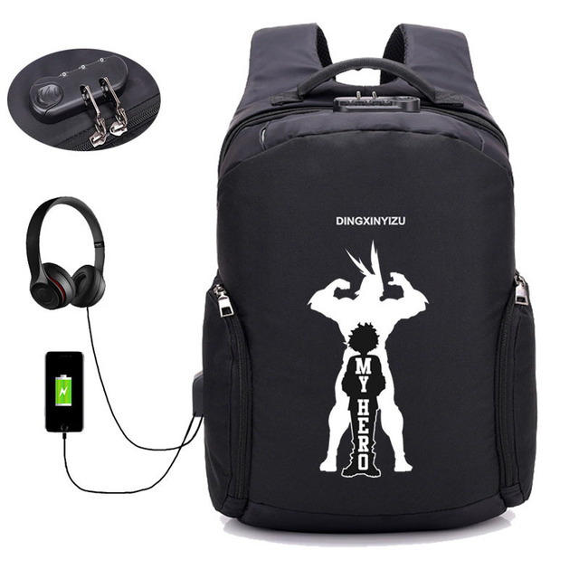 US $30 29 5% OFF|Aliexpress com : Buy My Hero Academia backpack anime Boku  no Hero Academia Anti theft USB Charging Laptop Travel Bag Schoolbag book