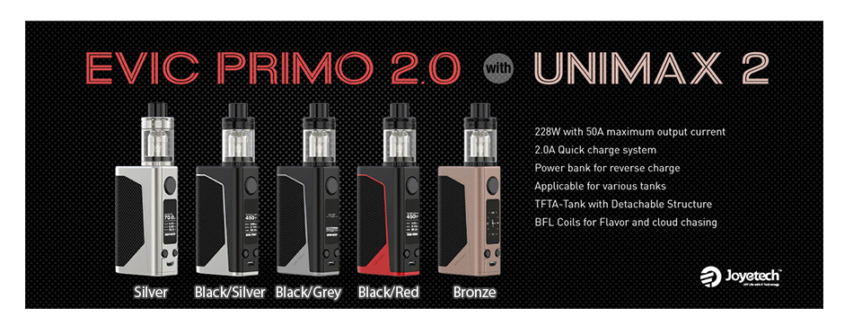 100% Original Joyetech eVic Primo 2.0 228W Max Output TC Box MOD with 2A Quick Charge System Applicable for Various Tanks E-cigs 3