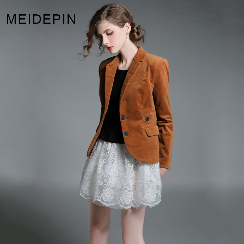 HIGH QUALITY Autumn Spring Women S Solid Color Notched Buttons Slim Velvet Blazer Outerwear Jacket Casual