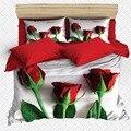 Еще 6 шт.  белый пол  красные розы  зеленый лист  цветок  3D принт  хлопок  сатин  двойной пододеяльник  Комплект постельного белья  наволочка  пр...
