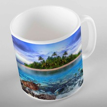 Еще зеленый остров деревья Синий Тропический под морем черепаха 3d печать подарок керамическая питьевая вода Чай медведь кофейная чашка кружка кухня