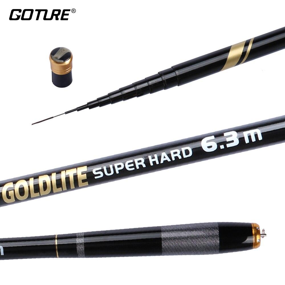 Goture GOLDLITE súper carbono duro flujo de mano telescópica caña de pescar 2/8 de pesca Rod 3,6 M 4,5 M 5,4 M 6,3 M 7,2 M
