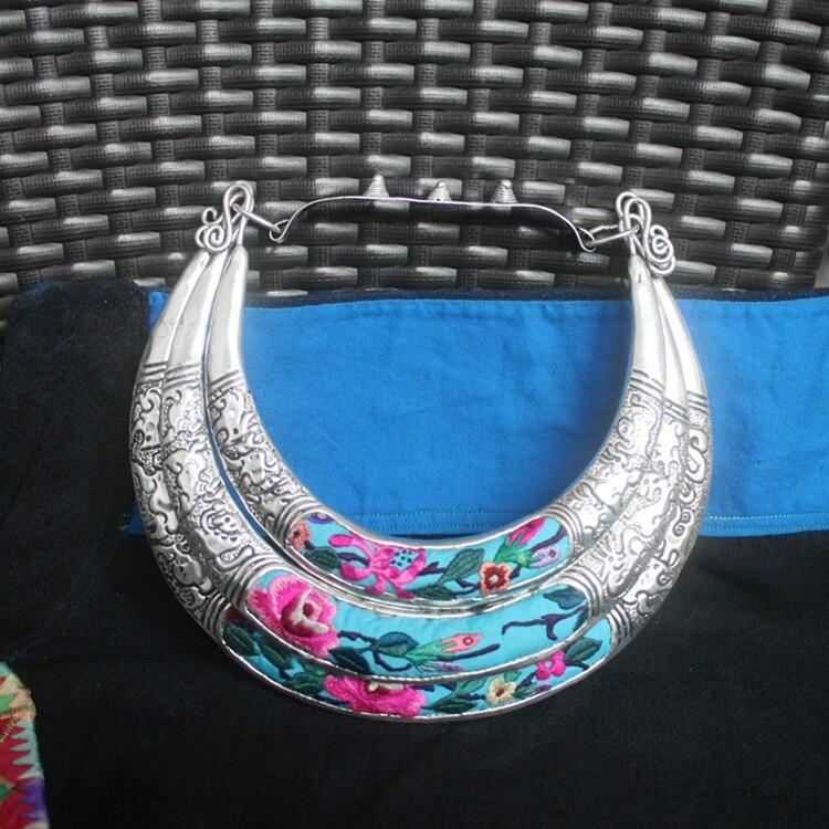 Miao collier brodé à la main en argent à trois niveaux collier de broderie>> pendentif collier ras du cou pour filles livraison gratuite