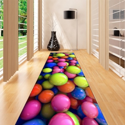 Else Green Orange Blue Pink Balls Funny 3d Print Non Slip Microfiber Washable Long Runner Mat Floor Mat Rugs Hallway Carpets