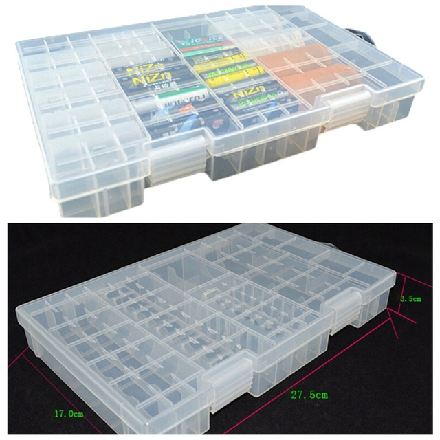 sale retailer 011ff 5cb63 US $6.72 20% OFF|Multi section Transparent Plastic Battery Storage Box  Large Household Goods On The AA and AAA Battery Sorting Box-in Storage  Boxes & ...
