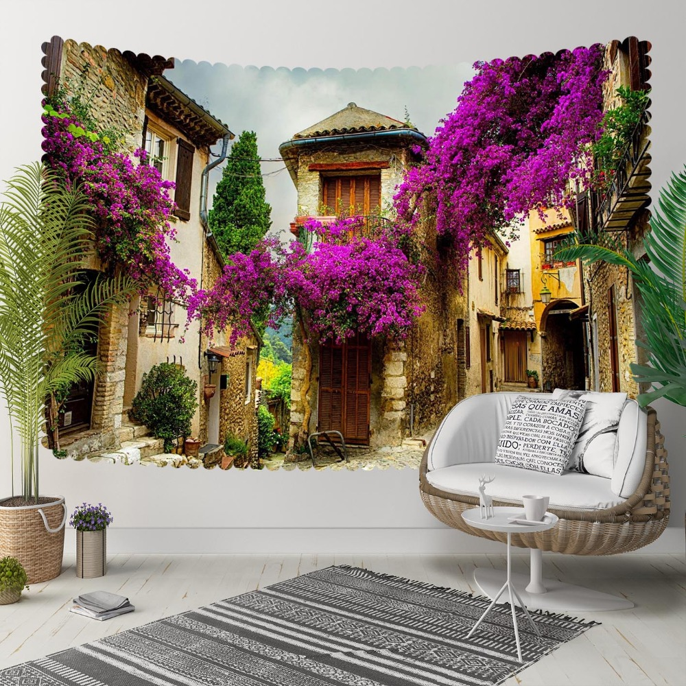 Else Purple Trees Vintage Town Flowers Floral Houses 3D Print Decorative Hippi Bohemian Wall Hanging Landscape Tapestry Wall Art