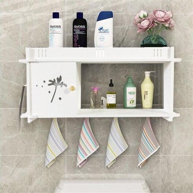 Bathroom Storage Rack Wall Mounted Shower Shelf Cosmetics Organizer Storage Boxes Kitchen Home Decor Wood- & Bathroom Storage Rack Wall Mounted Shower Shelf Cosmetics Organizer ...