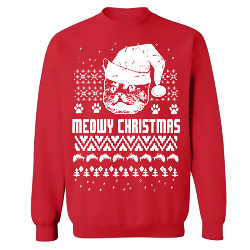 NEW Fashion Winter Christmas Theme Clothing Long-Sleeved Round Neck Women Men Lovers Prints Sweater