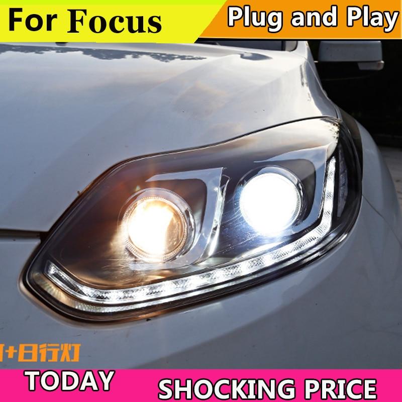 Car Styling For Ford Focus MK3 headlights 2012 2013 2014 Dynamic turn signal Headlight front Bi-Xenon Lens Double Beam HID KIT