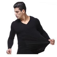 Autumn Winter Lined T shirt Fashion Men Elastic Undershirts Thermal Homme Casual V Neck Cotton Men's Long Johns XL-5XL 6XL