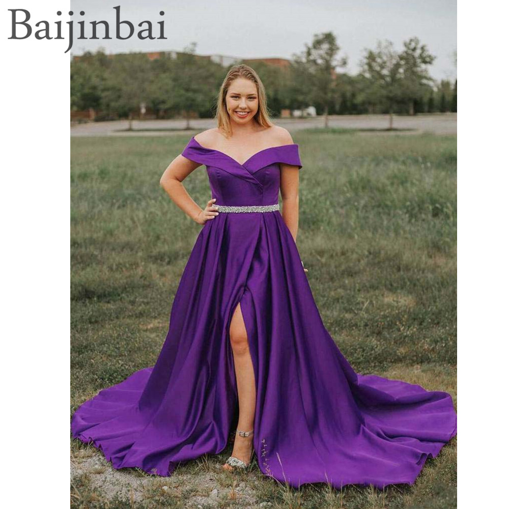 Baijinbai 2019 Matte Satin Off Shoulder Long Prom Party Dresses with Beaded Pockets Formal A Line