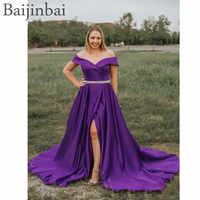 Baijinbai 2019 Matte Satin Off Shoulder Long Prom Party Dresses with Beaded Pockets Formal A Line Slit Evening Pageant Dress