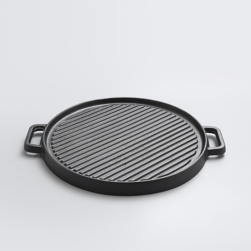 Fried Steak Two-sided Old Cast Iron Pan Thickened Stripe Flapjack Barbecue Pot Non Stick Electromagnetic Furnace Roasting Pan