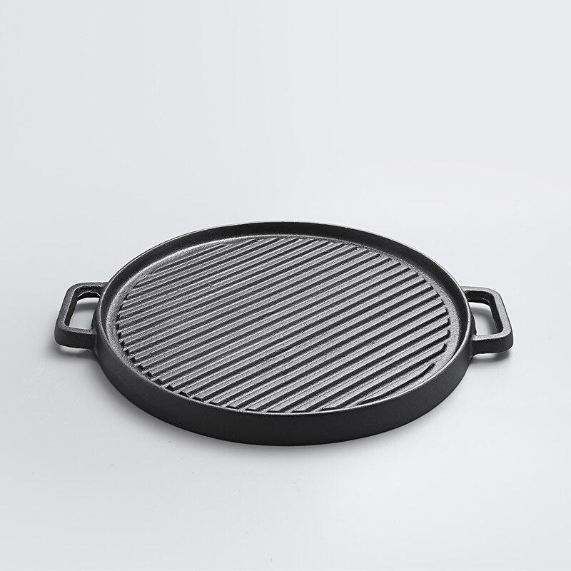 Steak frit deux faces ancienne poêle en fonte épaissie rayure Flapjack barbecue pot antiadhésif électromagnétique four rôtissoire