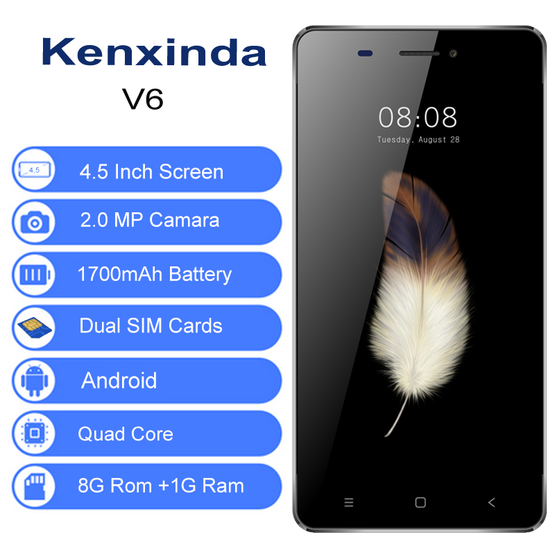 Gold/Gray Kenxinda V6 4.5 inch Andriod 7.0 SC7731C Quad Core 1700mAh 1G/8G Ram/Rom 1.2Ghz Touch Cellphone Smartphone +Earphone