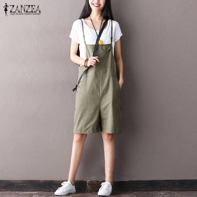 427d8f5df8 ZANZEA Summer Women Strappy Playsuit Bib Cargo Pants Playsuit Romper  Jumpsuit Wide Leg Party Overalls Long Pants