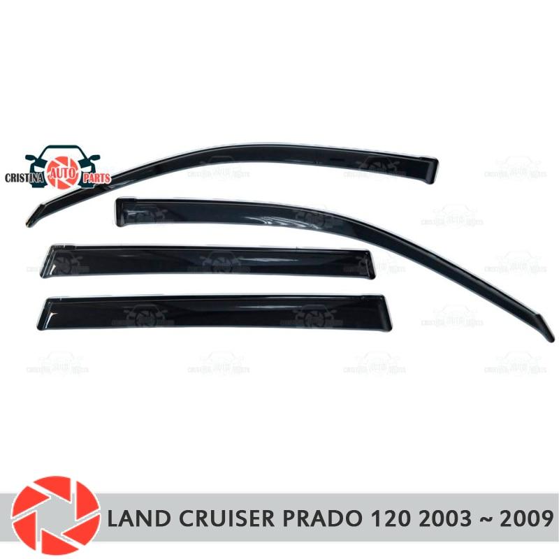 Window deflector for Toyota Land Cruiser Prado 120 2003~2009 rain deflector dirt car styling decoration accessories molding fj120 lc120 prado 2700 4000 led head lamp for toyota 2003 2009 year black v3