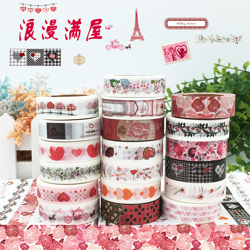 1pc Romantic LOVE Washi Tape Valentine's Day DIY Scrapbooking Sticker 10 Meters Long