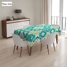 Table Cloth Green Colored Tiled Pattern Geometrical Diagonal Triangle Forms Oldest Craft Salat White 145x120 cm / 145x180 cm