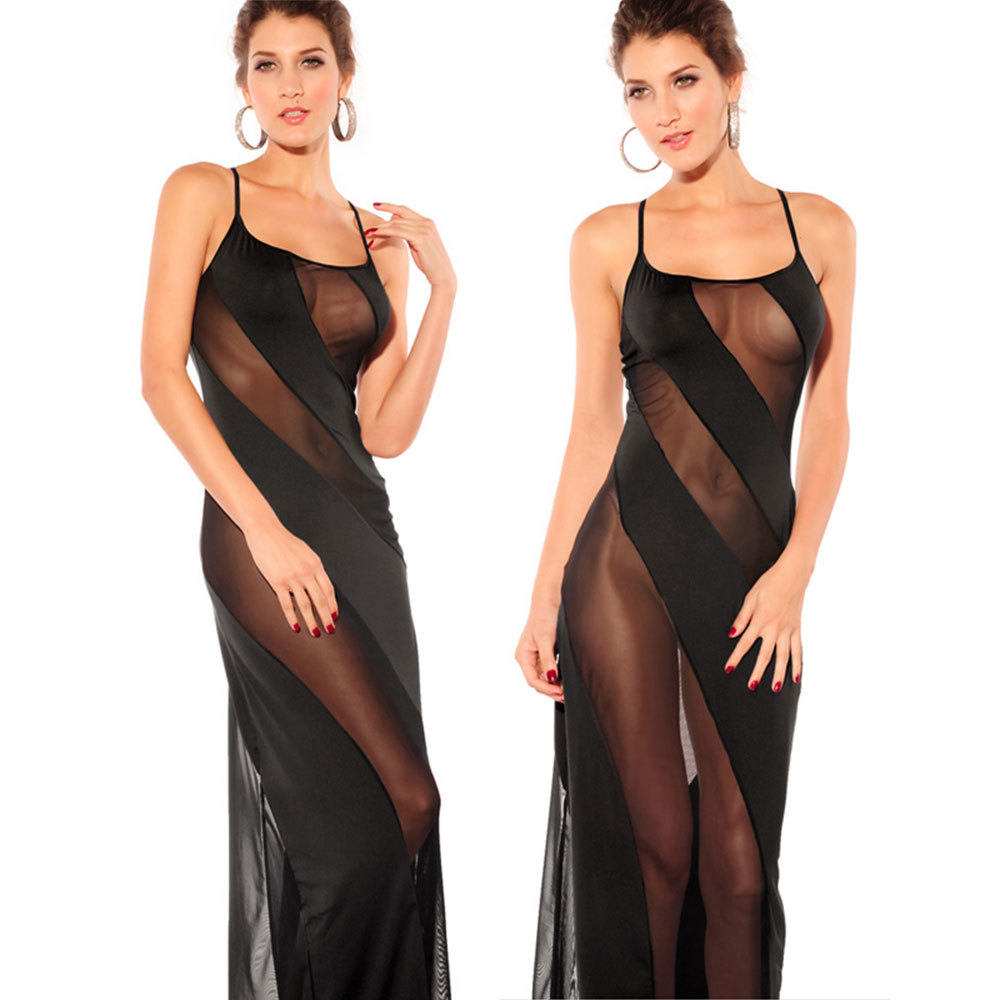 Sexy Mesh Long Dress Black Spaghetti Strap Transparent Dress Evening Nightgown nightie sleepwear lingerie women 5XL 6XL 1