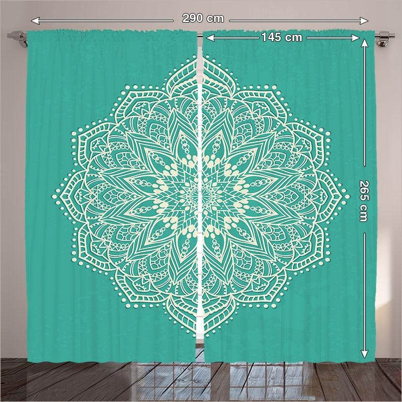 € 82.53 |Rideaux Lourds Mandala Circulaire Ronde Salon Décoration Indienne  Traditionnelle Orientale Élaborer Chambre Turquoise 290x265 cm maison ...