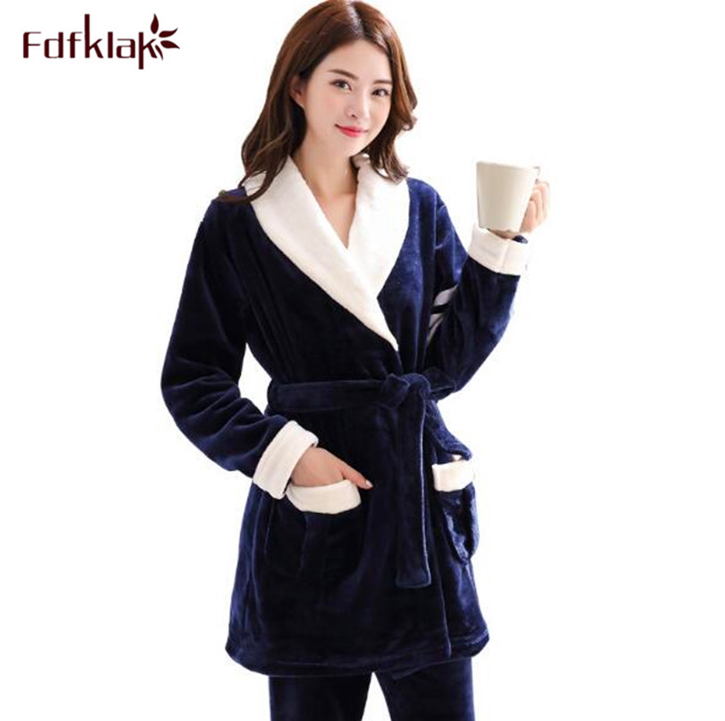 Fdfklak New Winter flannel pajamas for women long sleeve thicken pajama set large size sleepwear pyjamas suit pijama mujer XXL
