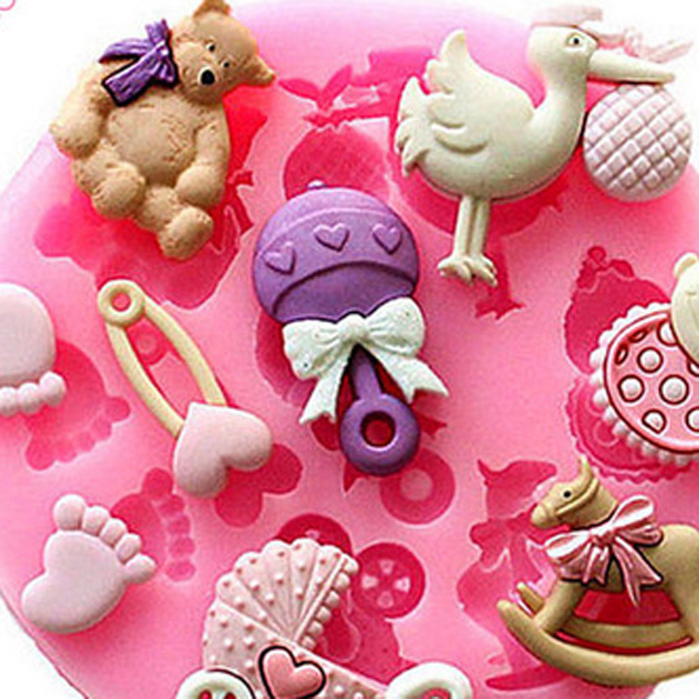 1 Pc 3D Baby Bear Foot Birds Shape Cake Decoration Mold Silicone Fondant Soap Chocolate Babies For DIY Bakeware In Molds From Home Garden On