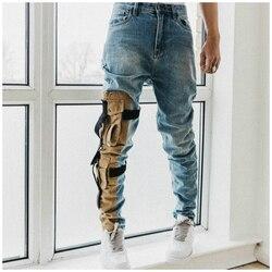 Hoge Kwaliteit Vintage Gewassen Slim Stretch Denim Jeans Kaki Pocket Patch Schrijnende Biker Jeans Acht Zakken Styling