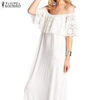 ZANZEA Fashion Women Slash Neck Shirt Dress Sexy Ruffled Lace Sleeve Off Shoulder Long Maxi Dresses