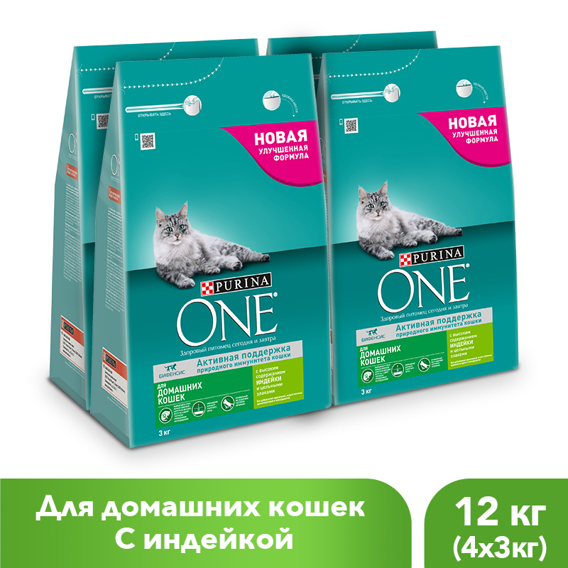 Purina ONE dry food for domestic cats with turkey and whole grains, 12 kg.