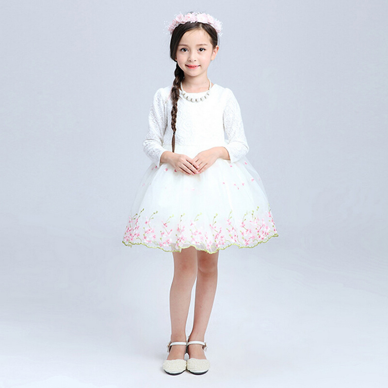Teenage Girls Clothes White Pink Tutu Dress Long Sleeve Easter Dresses For Girls 10 Years  Lace Toddler Kids Princess Dresses hayden girls boho ethnic dress designs teenage girls national embroidered dresses flare sleeve loose fit dress for 7 to 14 years