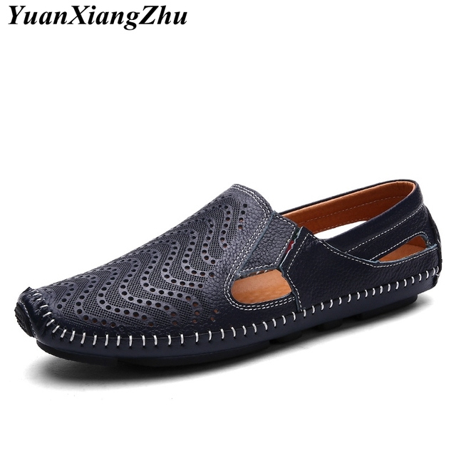 Hombres de cuero genuino mocasines 2018 verano Hollow hombres zapatos Casual agujeros respirables de cuero marca de gran tamaño hombres zapatos 38- 47 tamaño