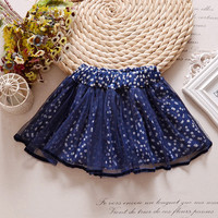 Mini Baby Girl Skirt Tutu Navy Blue Vestido 2017 Sweet Sash Toddler Baby Clothes for 1 and 2 Year Old RBS174003