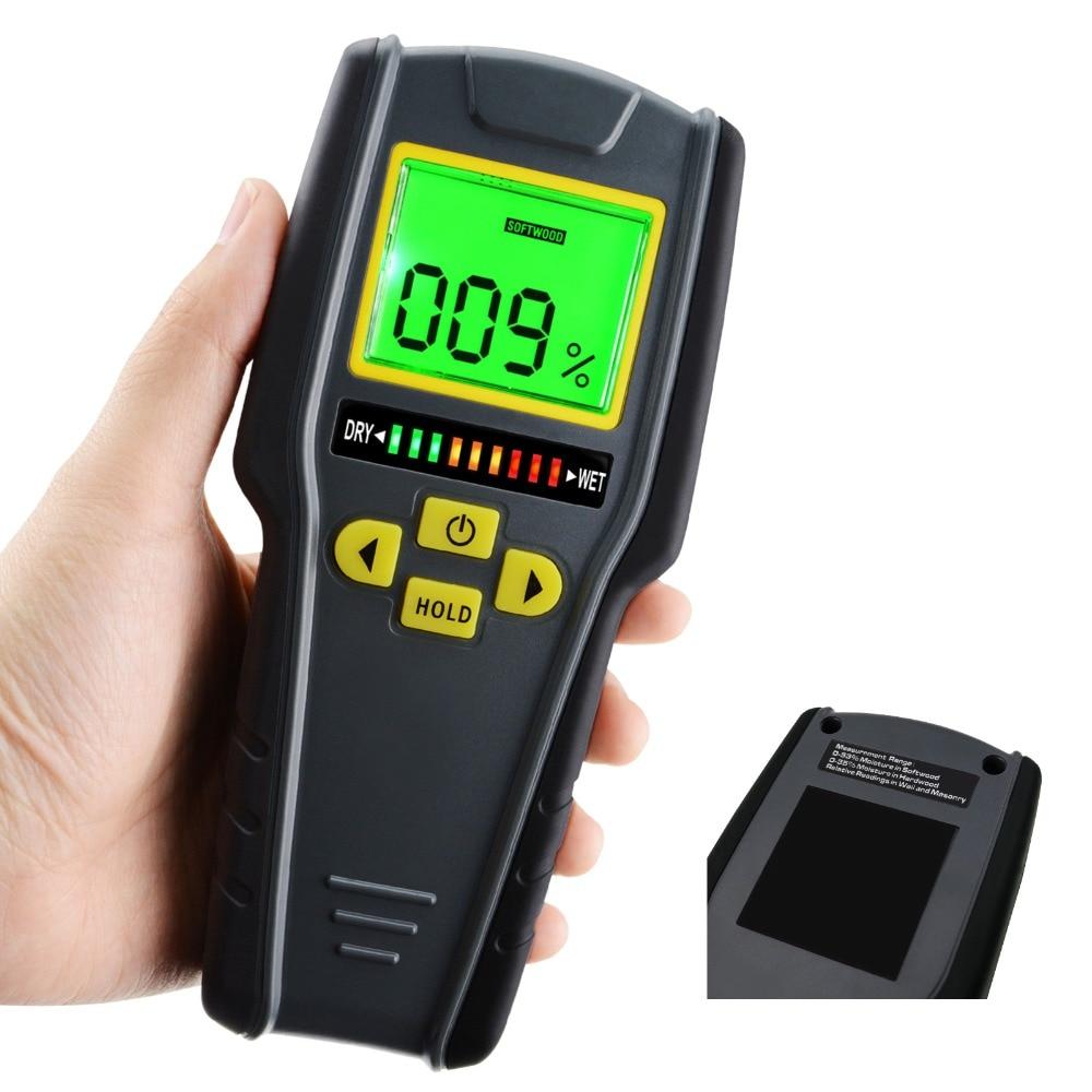 Digital Pinless Non invasive Inductive Moisture Meter Hard Soft Wood Drywall Masonry Scanner Wet Dry Tester Traders Craftsmen