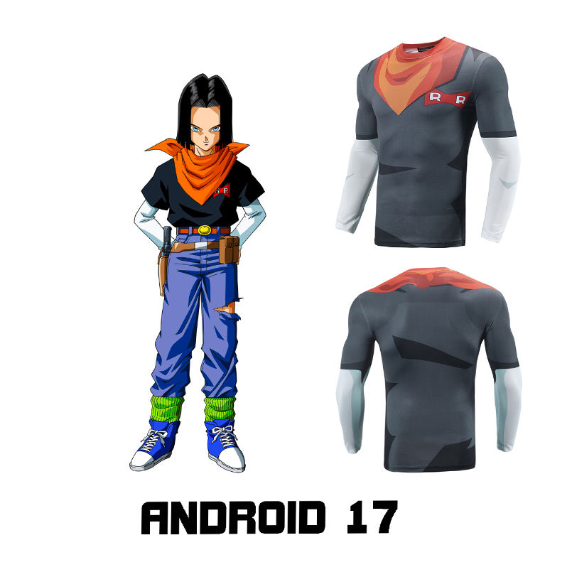 2018 Dragonball Z Android No.17 Fitness Quick Dry Pant Tight 3D shirt Cosplay Costume Hot Anime Cosplay for Halloween