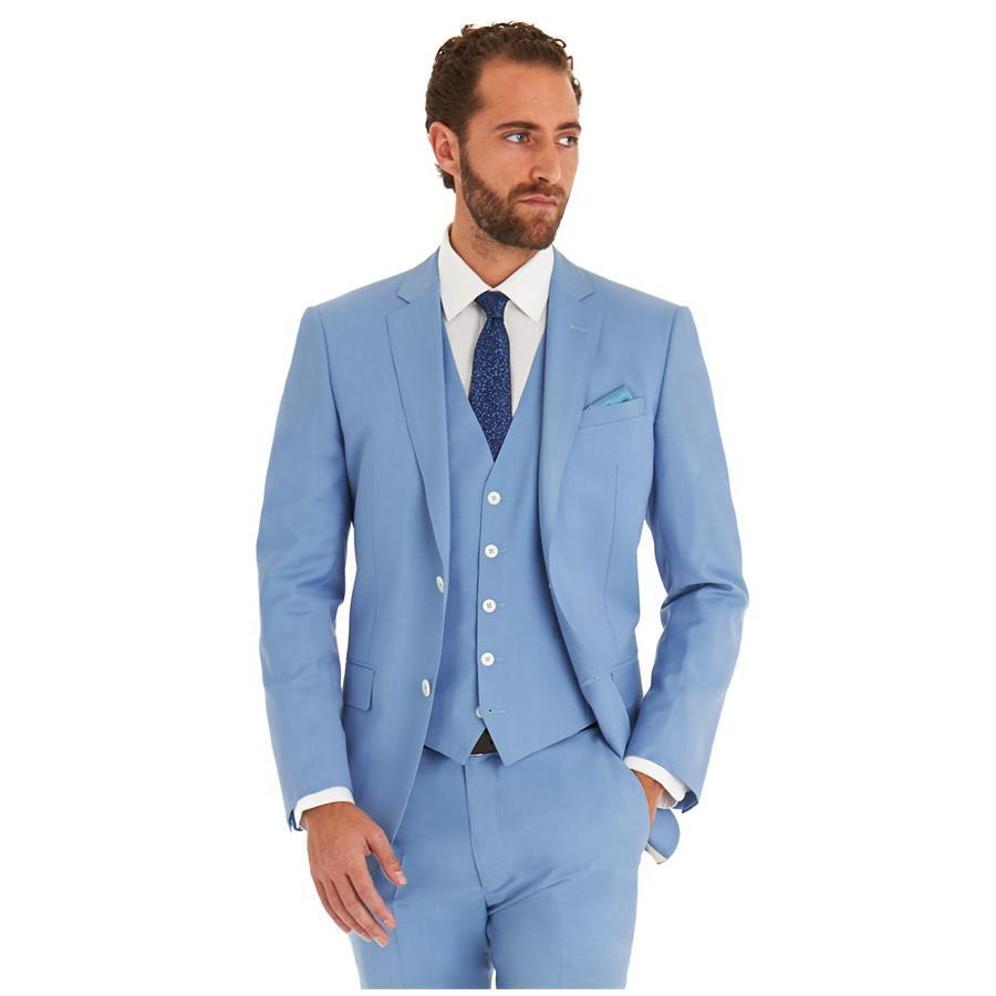 Sky Blue New Business Men Suit Groom Wedding Suits Italian Style ...