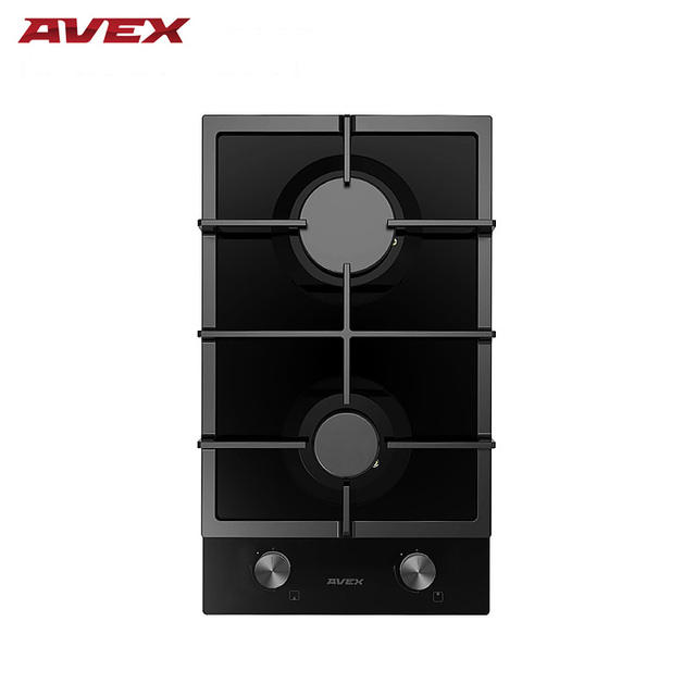 Встраиваемая панель с газконтролем, с чугунными решетками AVEX HM 3022 B, ширина 30 см, чёрное закалённое стекло