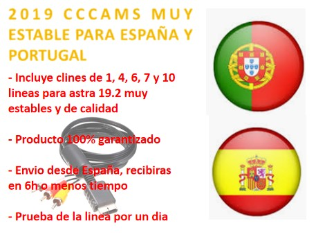 2019 CCCAMS CLINES EUROPE HD DVB-S2 VERY STABLE FOR SPAIN AND Portugal 1-10 LINES FOR EVERYTHING TYPE RECEPTORE SATELITE NO CUT